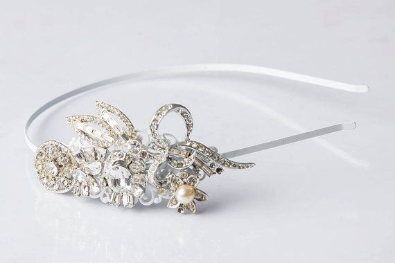 Bridal Headband Vintage 1920s Jewelry by Katices Bowtique