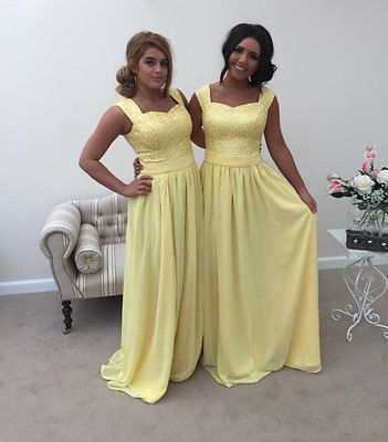 YELLOW LEMON 2 SHOULDER CHIFFON LACE BRIDESMAID WEDDING DRESS LONG MAXI CHARLOTT