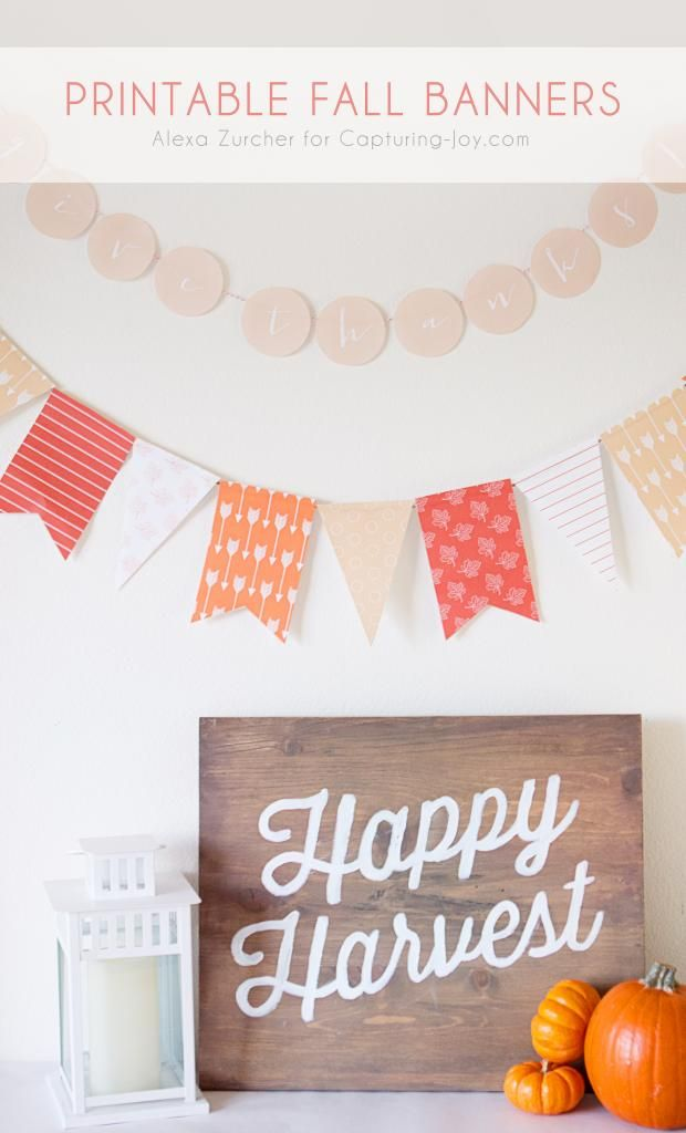 Free printable fall banner. Print out this banner for your home decorations. Capturing-Joy.com