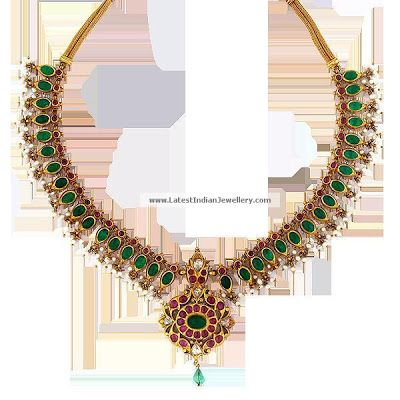 Traditional Antique jewellery with Emeralds and Rubies   Latest Indian Jewellery Designs