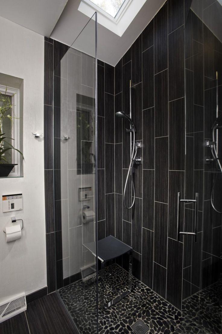 Bathroom Black Vertical Subway Tile Corner Shower Design