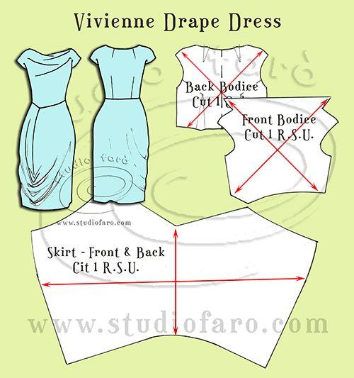 Vivienne Drape Dress - homage to a fav. Pattern Making Instructions. studiofaro wellsuitedblog