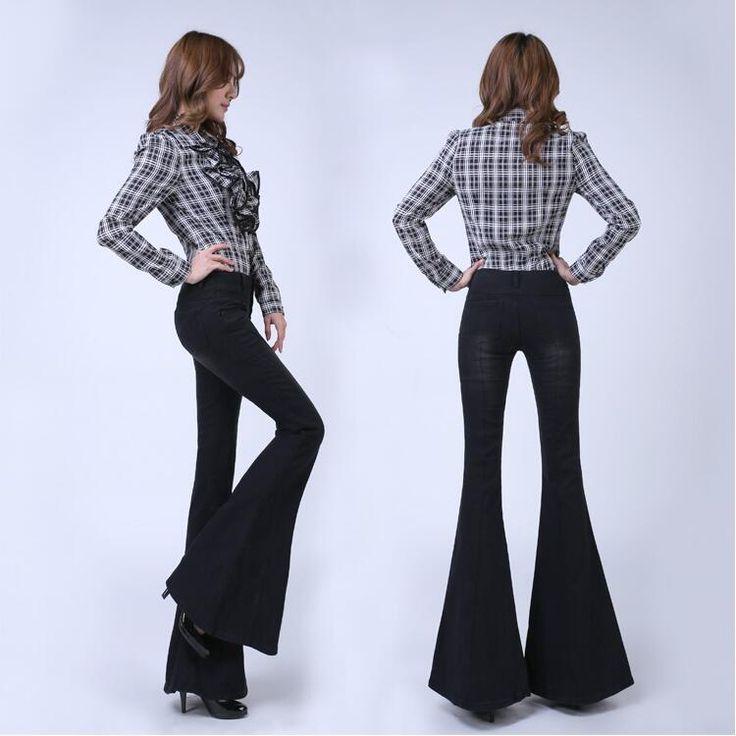 Купить товарЮжная корея леди черный высокая талия кнопки упругие большие рога джинсы женский загрузки вырезать стройную ногу большой расклешенные джинсы однобортный брюки в категории Джинсына AliExpress.   ДЕТАЛИ ПРОДУКТА                                                      Это