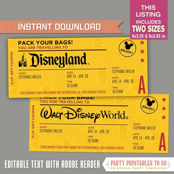 Editable Surprise Trip Ticket To Disneyland Disneyworld Disney Trip Vintage Style Gift Coupon Disneyland Tickets Disney Coupons Disney Tickets