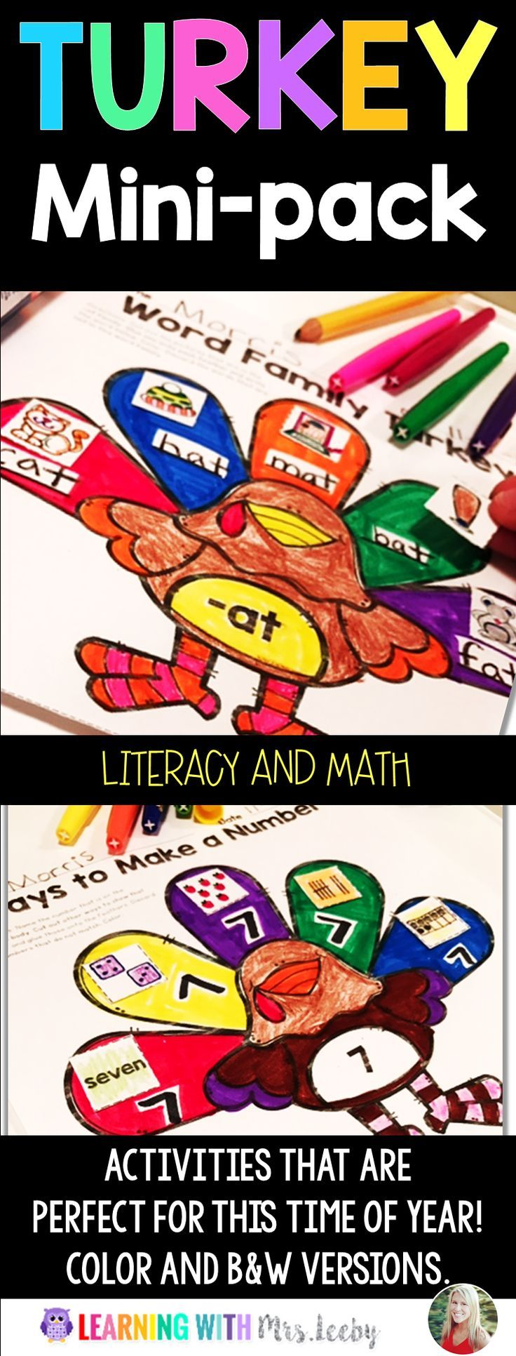 Math, literacy, and coloring for this fun time of year. COLOR and BLACK & WHITE versions included. Use individually or as a laminated center. This pack is filled with loads of fun and easy on the pocketbook!