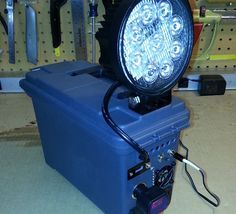 12v5ah SLA battery powering 27W 12v LED offroad light. Portable rechargeable lighting, plus inverter power. I would use a standard 50cal ammo can and a larger ah battery.