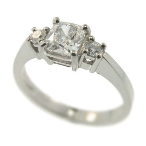 18ct White Gold Cushion Cut & Round Brilliant Diamond Ring. Handmade at Cameron Jewellery.