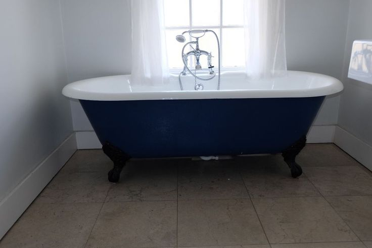 blue rolltop cast iron bath with claw feet