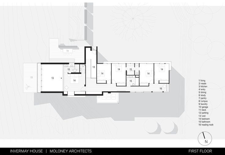 Invermay House / Moloney Architects, Floor Plan-1
