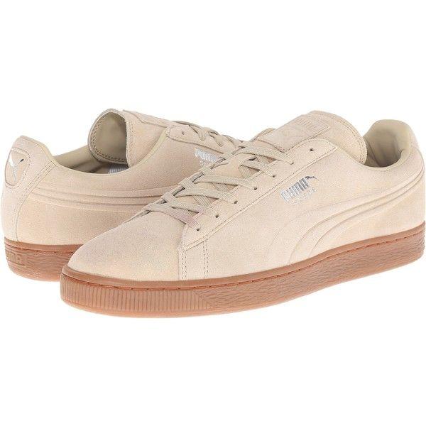 PUMA The Suede Emboss (Pale Khaki/Gum) Men's Shoes ($30) ❤ liked on Polyvore featuring men's fashion, men's shoes, men's sneakers, beige, mens suede shoes, mens sneakers, mens shoes, mens suede lace up shoes and puma mens sneakers