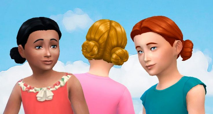The Sims 4 | My Stuff: Buns Low for Girls Hairstyle Conversion | Outdoor Retreat GP 01 hairs converted for female child