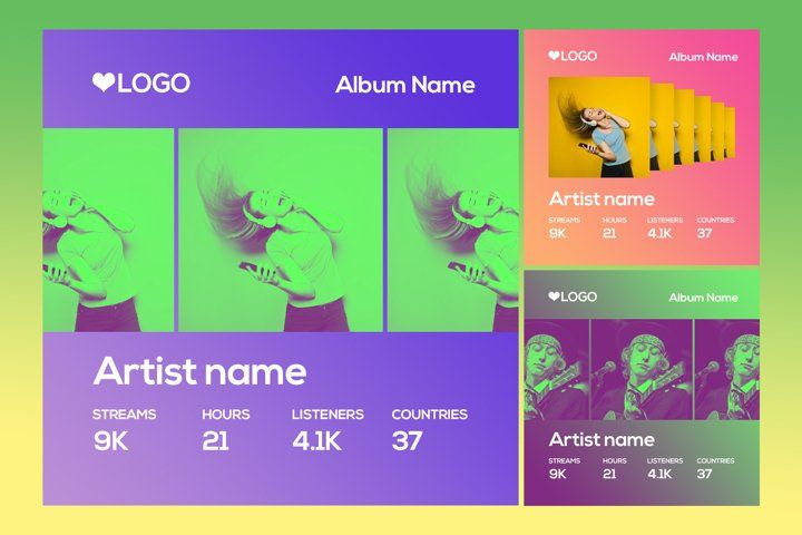 Spotify Style Photo Template 407548 Web Elements Design Bundles In 2021 Facebook Cover Photo Template Photo Template Facebook Cover Photos