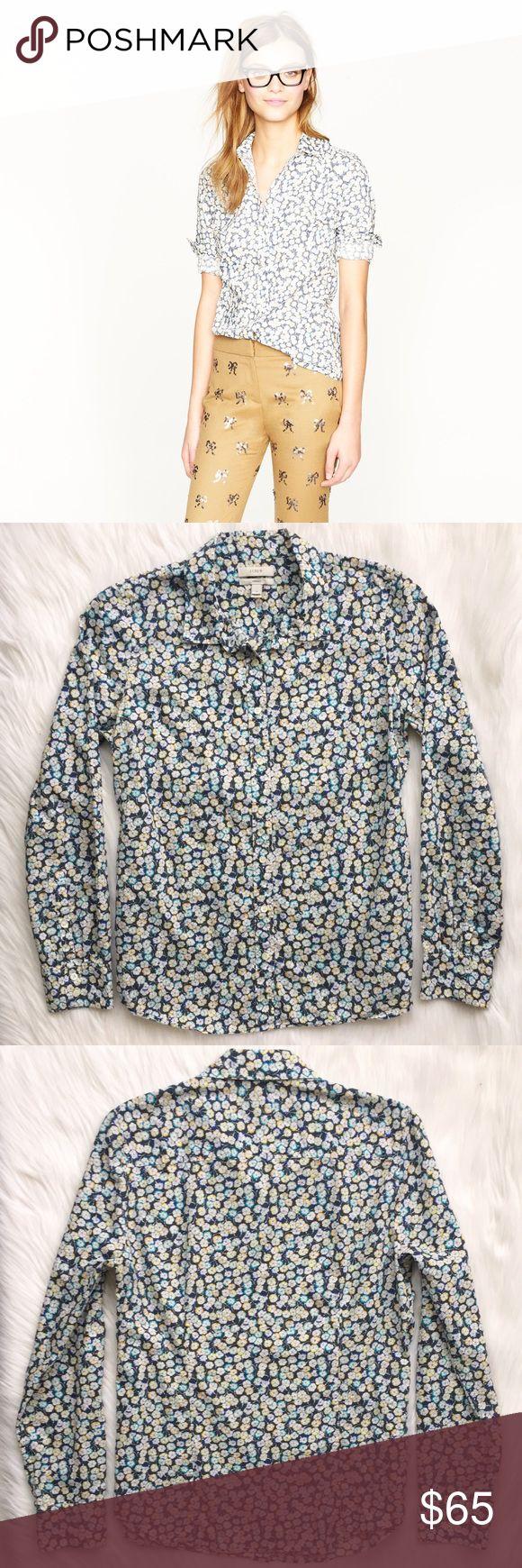 {j. crew} liberty perfect shirt in leo scarlet Washed for extra softness, this wear-anywhere blouse features the impeccable tailoring you know and love, a signature print from the archives of London's Liberty Art Fabrics (famous for florals and paisley since 1875) and precisely placed bust darts and back princess darts for a slimming, feminine, waist-defining fit.   ᴇxᴄᴇʟʟᴇɴᴛ ᴘʀᴇ-ʟᴏᴠᴇᴅ ᴄᴏɴᴅɪᴛɪᴏɴ • ɴᴏ sɪɢɴs ᴏғ ᴡᴇᴀʀ ᴍsʀᴘ • $150 ᴍᴀᴛᴇʀɪᴀʟs • 100% Cotton sᴛʏʟᴇ • 97120  ᴍᴇᴀsᴜʀᴇᴍᴇɴᴛs • ғʟᴀᴛ ʟᴇɴɢᴛʜ…