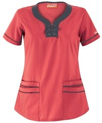 Butter-Soft Scrubs by UA™ Lace-Up Neck Scrub Top $15.99 Rich Coral w/Pewter
