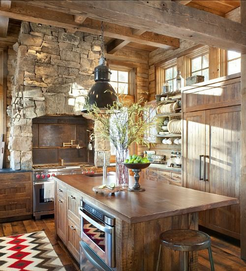 Love this kitchen...all of the natural colors, textures...so beautiful!! Mountain Ski Lodge in Montana (10) {Kitchens, Home Design, Natural Stone, Industrial Light}