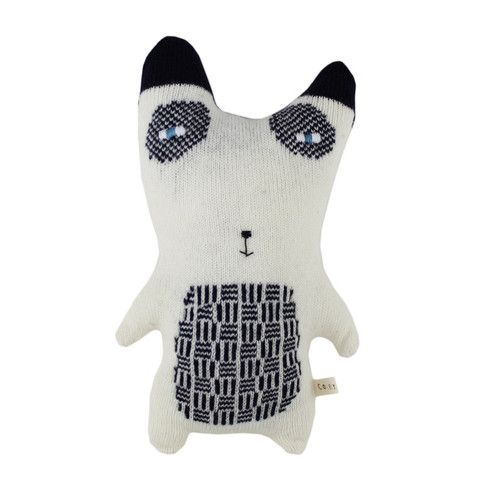 Colette Bream handmade knitted wool cushion/soft toy - Pascal the Panda