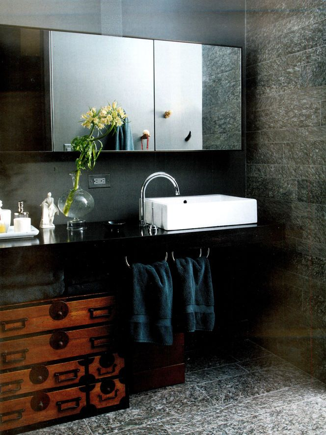 Brighten up a #dark #bathroom with a white sink!