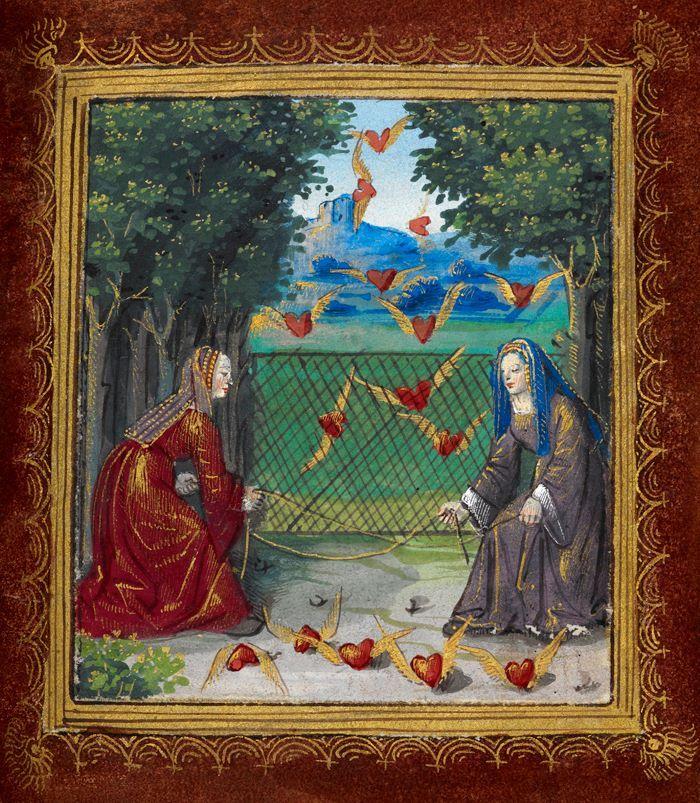 """Pierre Sala, """"Książeczka o miłości"""" (wiersze dla Marguerite Builloud, ukochanej autora), Paryż i Lyon, ok. 1500 (ff. 18r-34r - XVIII w.), fol. 13r, The British Library (Stowe MS 955)."""