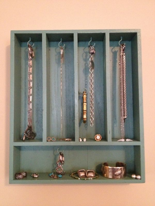 DIY jewelry display from painted cutlery tray and metal hooks. by Blondedyke