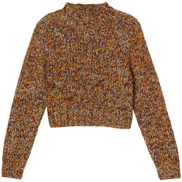 Monki Heidi knitted top (€40) ❤ liked on Polyvore featuring tops, sweaters, jumpers, shirts, monki, brown tops, brown sweater, brown shirt and shirt sweater