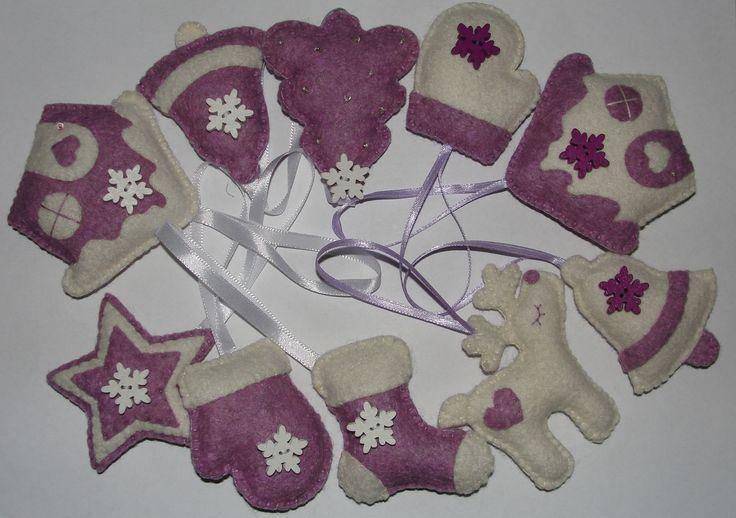 Wool Felt Christmas Ornament, Reindeer, House, Christmas Tree, Bell, Star, Decoration