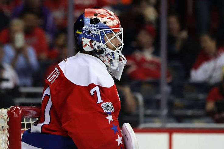 WASHINGTON, DC - FEBRUARY 24: Goalie Braden Holtby #70 of the Washington Capitals follows the puck in the first period against the Edmonton Oilers at Verizon Center on February 24, 2017 in Washington, DC. (Photo by Rob Carr/Getty Images)