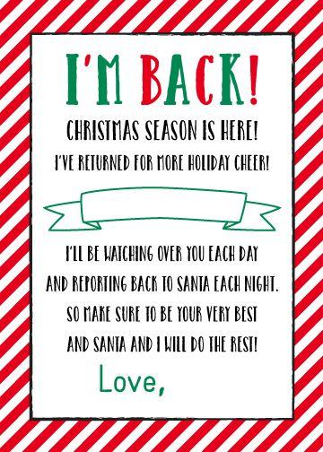 "{ FREE } Printable ""I'm Back"" Elf on the Shelf Letter   5 x 7 Size - Plush Paper Design"