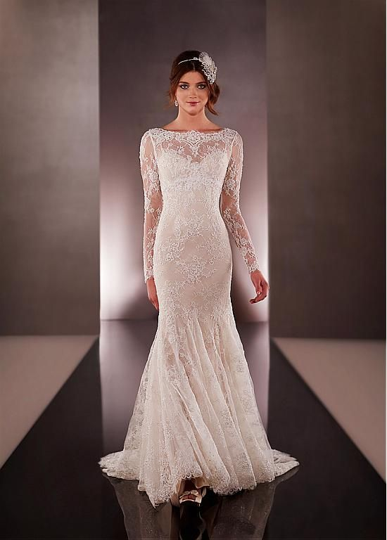 Elegant Lace Bateau Neckline Natural Waistline Long Sleeves Mermaid Wedding Dress With Beadings & Rhinestones