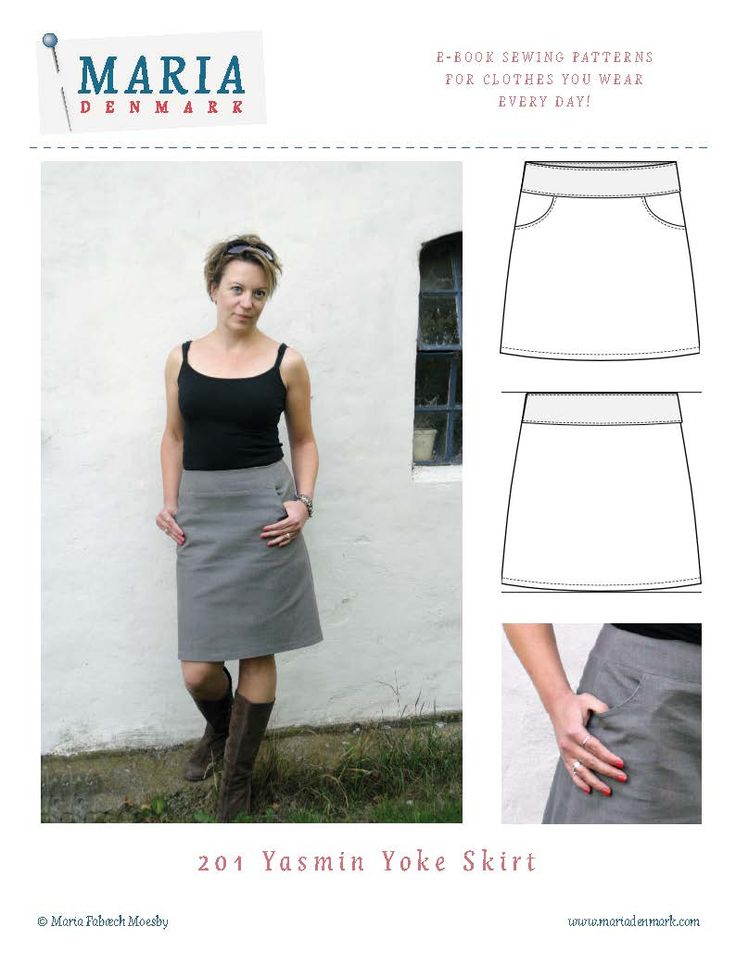 Easy and very versatile skirt pattern with yoke and cute rounded pockets. Download now and start sewing in 30 minutes!