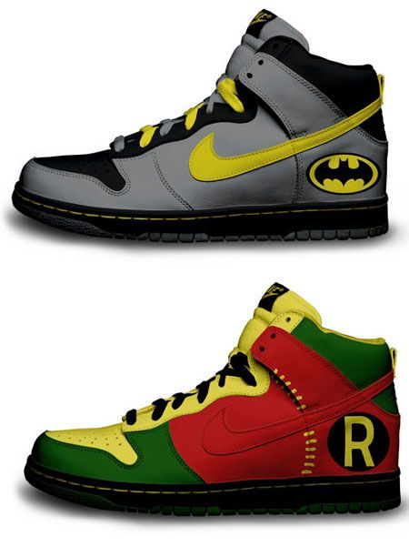 Batman & Robin custom Nike sneakers designed by Brass Monki. via Gamefreaks  dream shoes