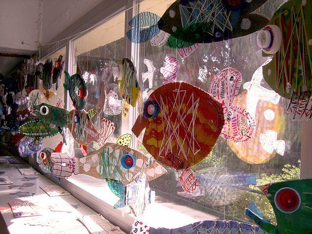 Cardboard sewing card fish.