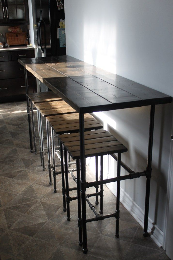 Industrial Style Table and Stools Diy sofa table