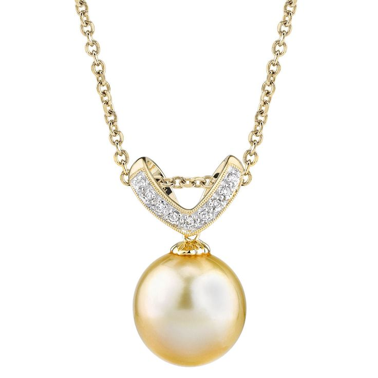 Radiance Pearl 14k Gold Golden South Sea Pearl Diamond Accent Pendant
