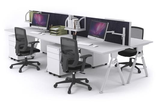 Elements 4 Person Workstation Double Sided With Screens White Leg. The Elements 4 person workstation with white legs is a stylish workstation system that is specifically designed to be durable in a commercial office environment. You can also customise the colour of the noise-cancelling desk screens to your liking.