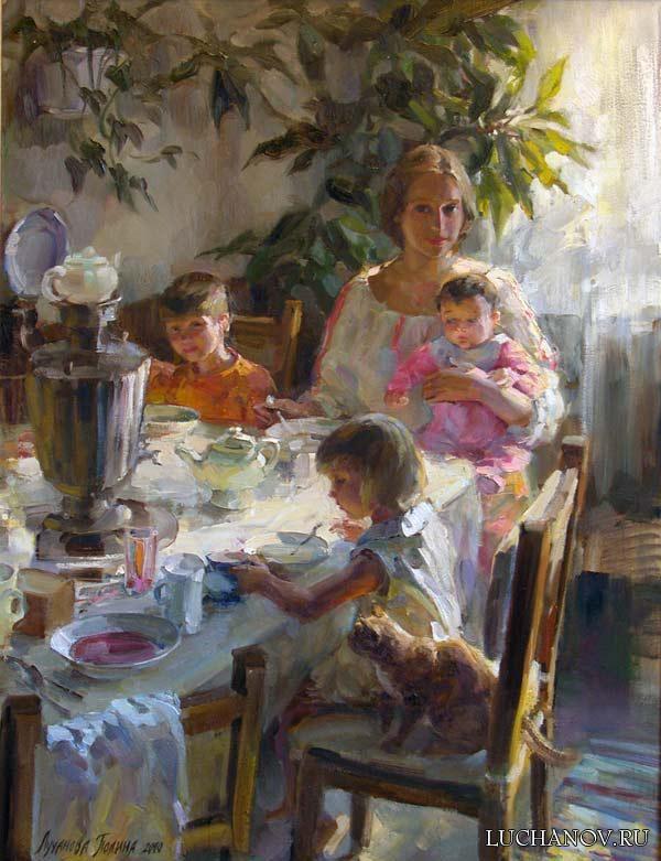 эскиз к автопортрету с детьми 60-80см. х.м. 2009