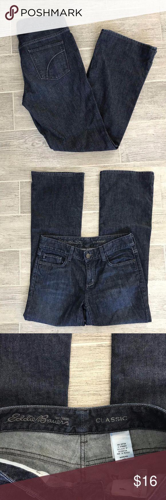 """Eddie Bauer Classic Dark Wash Jeans Size 4R Eddie Bauer Classic Fit. Dark wash women's jeans. Size 4.   Waist Laying Flat - 16"""" Inseam - 30"""" Rise - 8.5""""  (B) Eddie Bauer Jeans Boot Cut"""