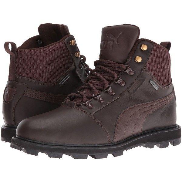 PUMA Tatau Fur Boot GTX (Chocolate Brown/Chocolate Brown) Men's Boots ($150) ❤ liked on Polyvore featuring men's fashion, men's shoes, men's boots, mens fur boots, mens lace up boots, mens water proof boots, mens fur lined shoes and mens breathable shoes