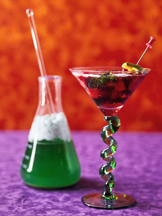 Mad Science Martini        Get creative in your kitchen with this spooky nonalcoholic beverage. Blends of fruit flavors make up the red-and-green beverage, which sips perfectly from a martini glass.