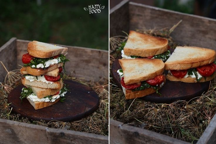 Сэндвичи с томлеными томатами и дипом из маскарпоне с базиликом