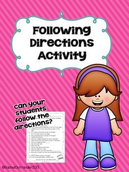 Following Directions Activity - A fun way to remind your students to follow ALL of the directions!