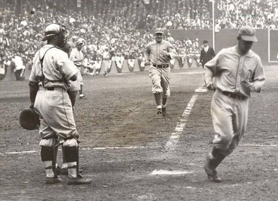 October 1, 1931 at Sportsman Park: Mickey Cochrane of the A's scores on Al Simmons HR in first game of 1931 World Series against St Louis Cardinals.