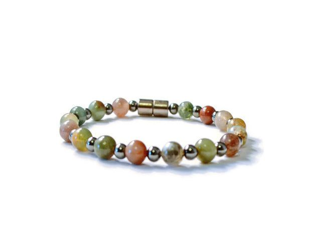Fancy Jasper and Hematite Magnetic Health Bracelet