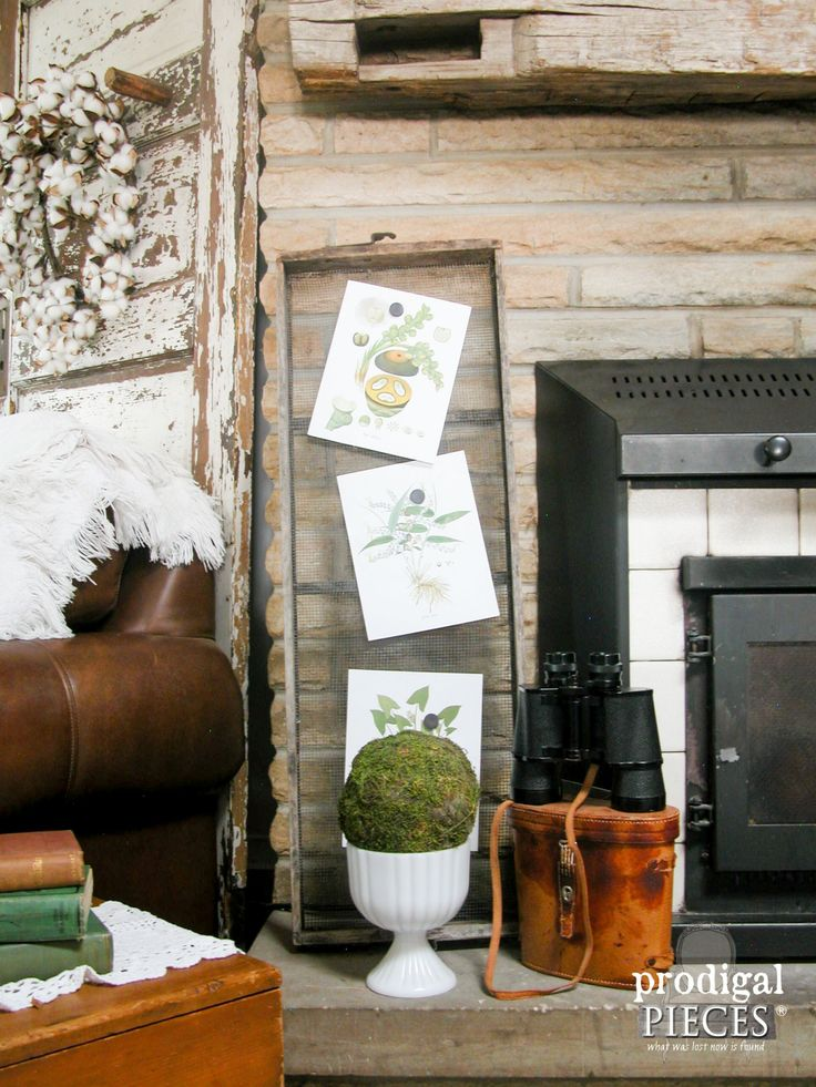 Botanical Print Display on Antique Farmhouse Sifter by Prodigal Pieces | www.prodigalpieces.com