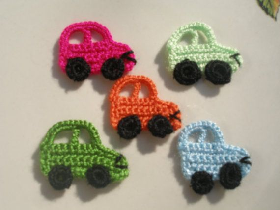 car crochet appliques....figure i could make/attach to a winter hat for Preston.