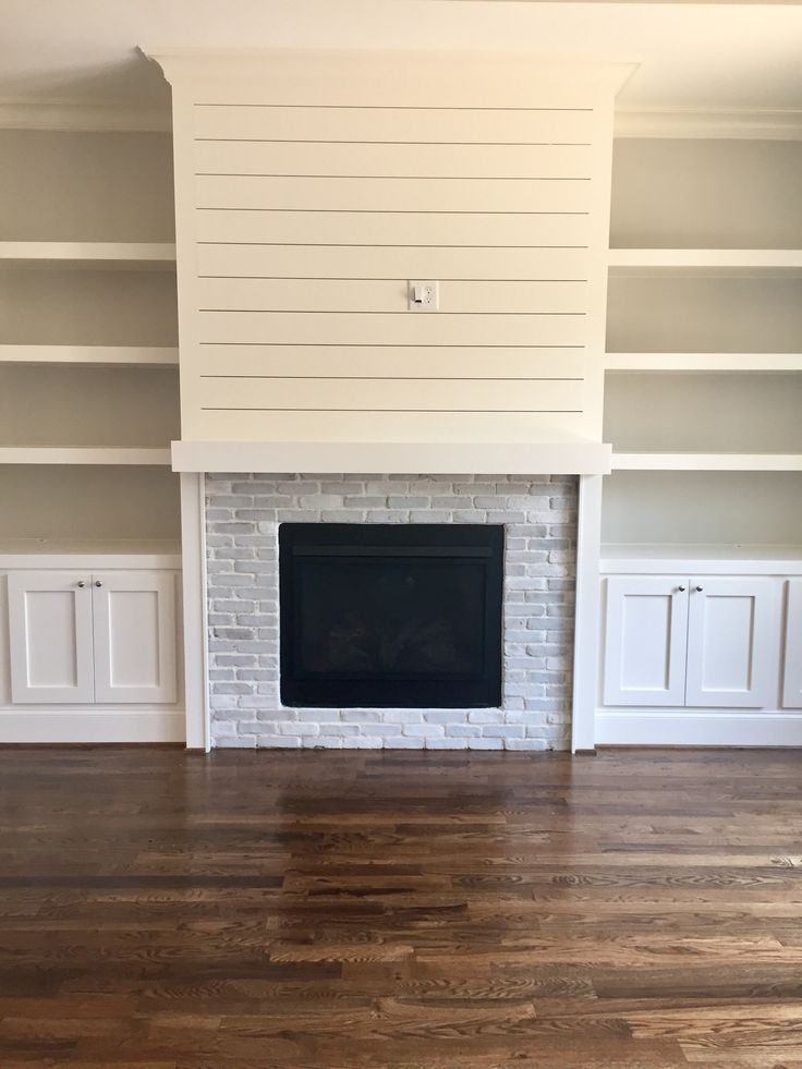 Ship Lap With Faux Brick Floating Shelves In 2019 Home