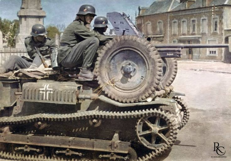 An improvised 'self-propelled' 3.7 cm Pak 36 somewhere in France or Belgium during the summer of 1940.