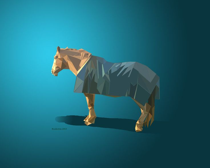Horse low poly on Blue by Ruckrova