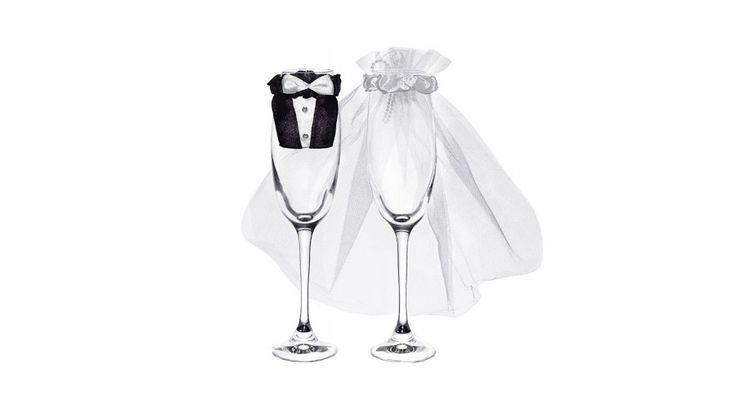 Esküvői pezsgőspohárra menyasszony és vőlegény dísz - Esküvői ajándék - esküvői kellékek, esküvői dekoráció, esküvői autódísz