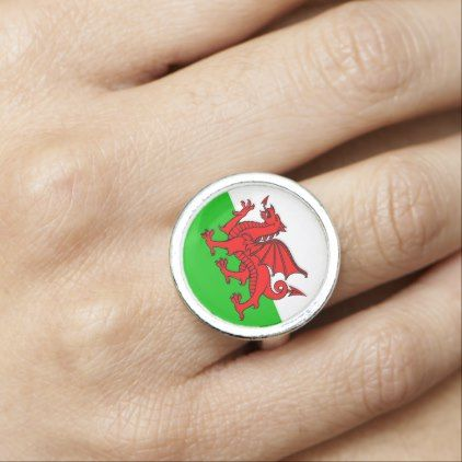 Welsh Red Dragon Wales Flag Photo Rings  $21.15  by MtotheFifthPower  - cyo customize personalize unique diy