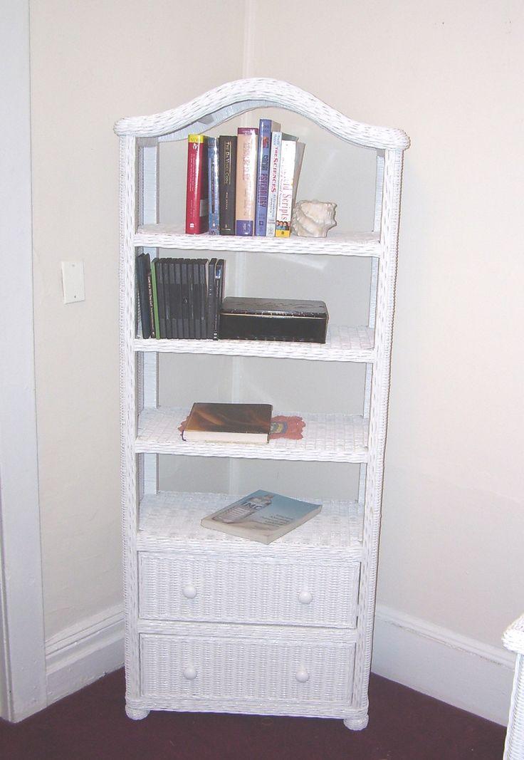 Elana Grand Wicker Bookcase #white #wicker #furniture Pinned by wickerparadise.com